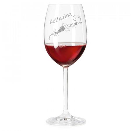 Leonardo Weinglas mit Name graviert
