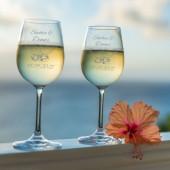 2 Leonardo Weißweingläser mit Namen graviert