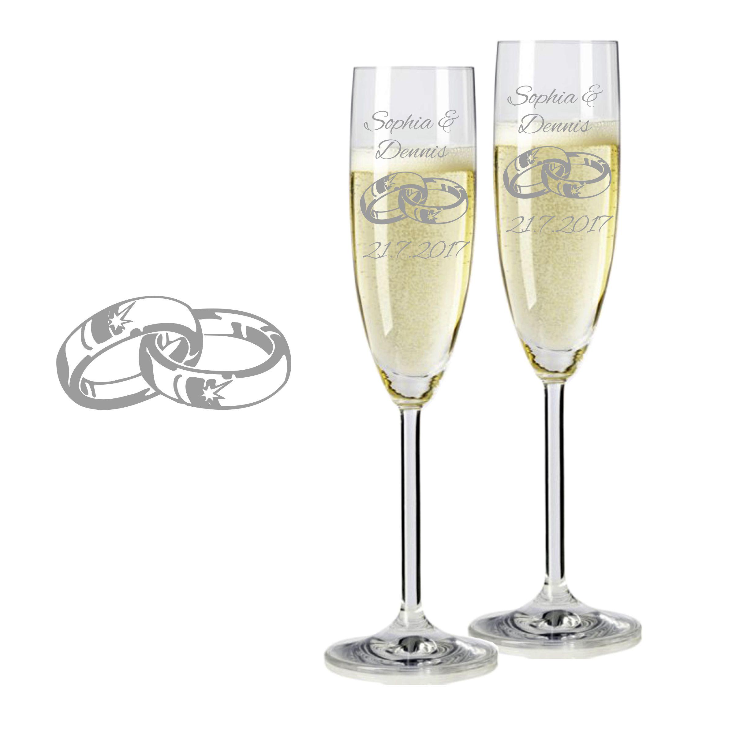 Details zu 2 Leonardo Sektgläser mit Gravur Ringe 2 graviert Sektglas Name  Hochzeit